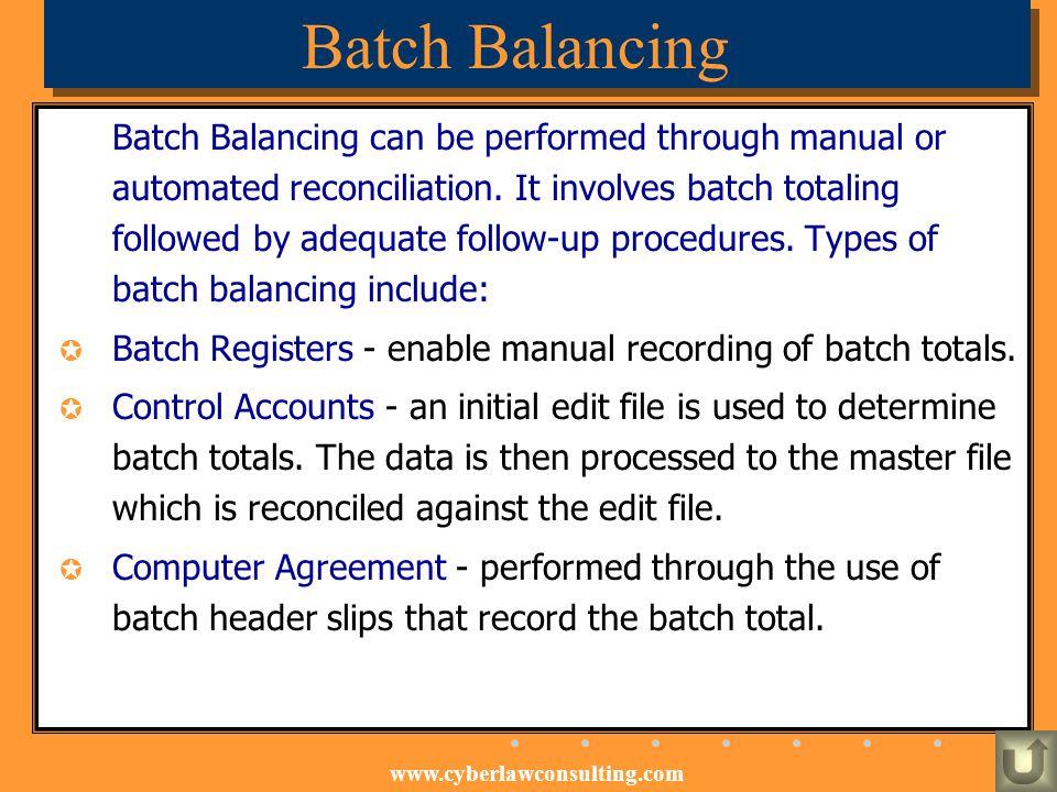Batch Balancing