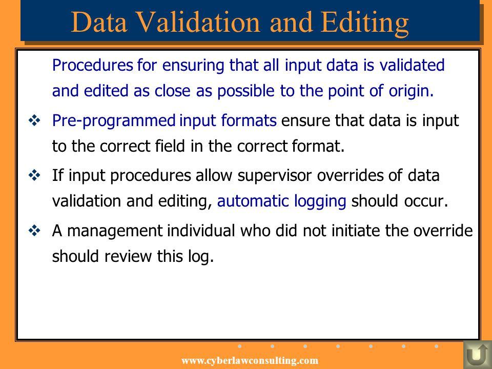 Data Validation and Editing
