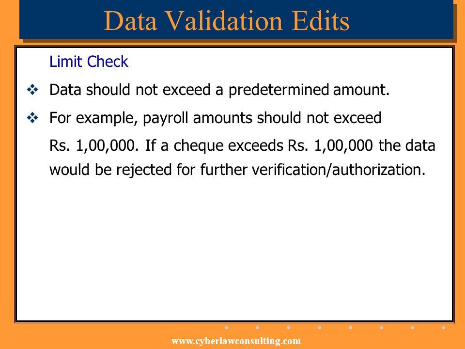 Data Validation Edits Limit Check