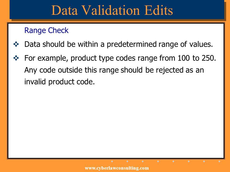 Data Validation Edits Range Check