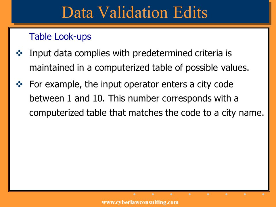 Data Validation Edits Table Look-ups