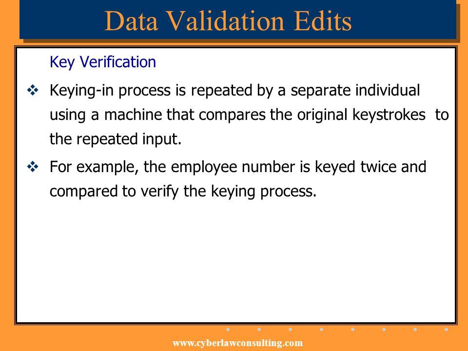 Data Validation Edits Key Verification