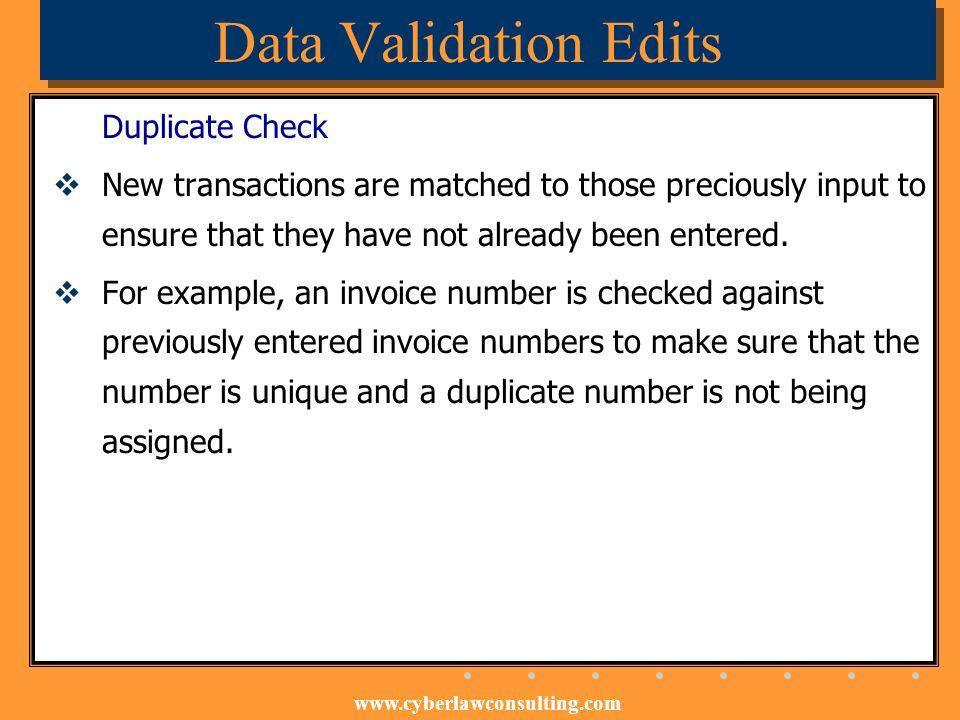 Data Validation Edits Duplicate Check