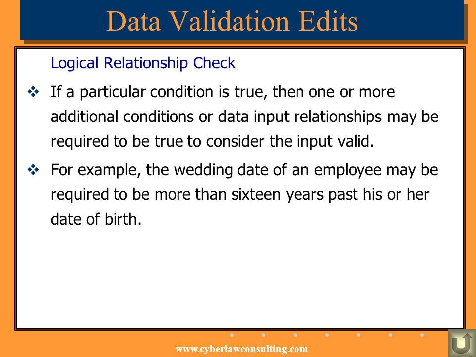 Data Validation Edits Logical Relationship Check