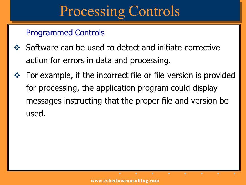 Processing Controls Programmed Controls