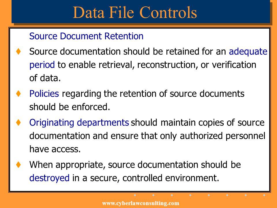 Data File Controls Source Document Retention