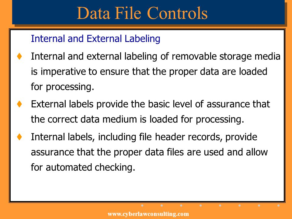 Data File Controls Internal and External Labeling