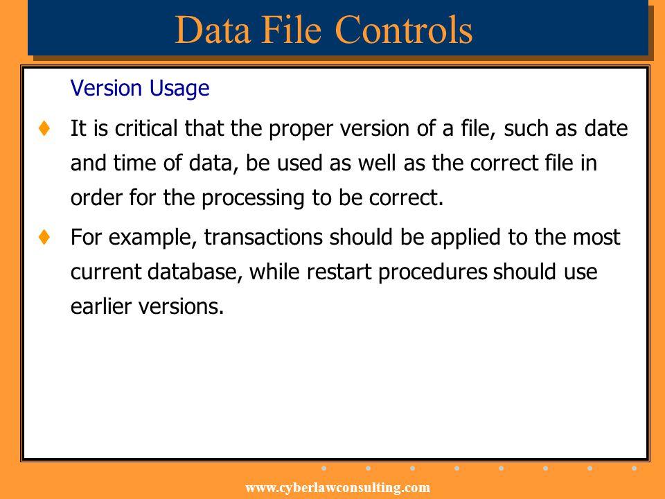 Data File Controls Version Usage