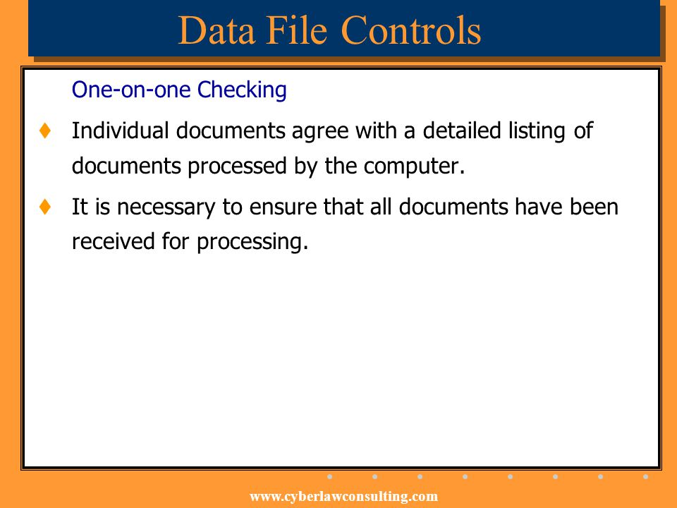 Data File Controls One-on-one Checking