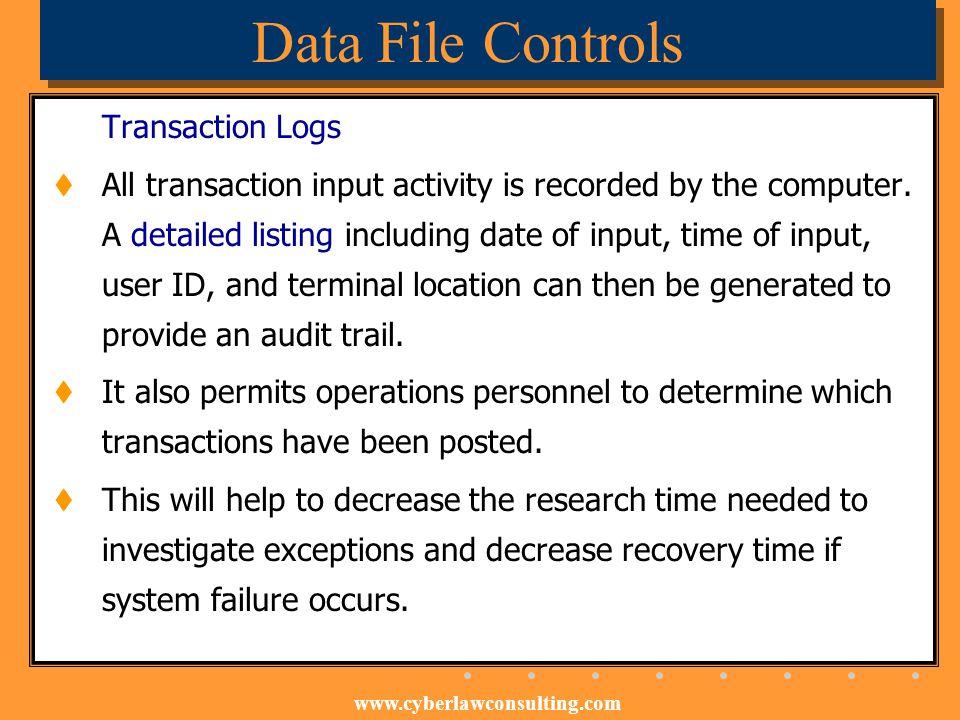 Data File Controls Transaction Logs