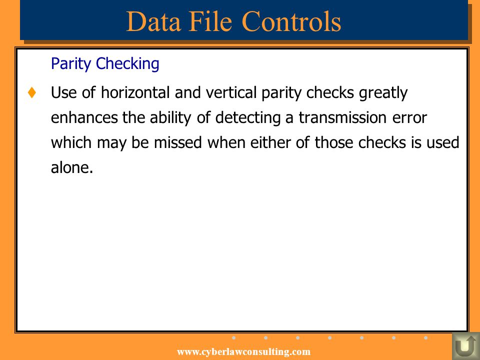 Data File Controls Parity Checking