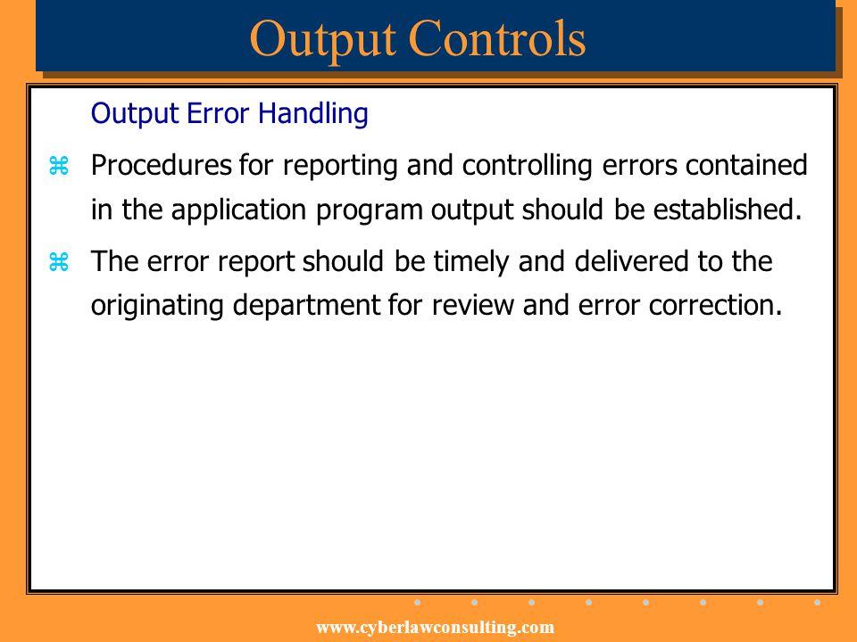 Output Controls Output Error Handling