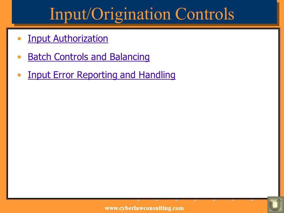 Input/Origination Controls