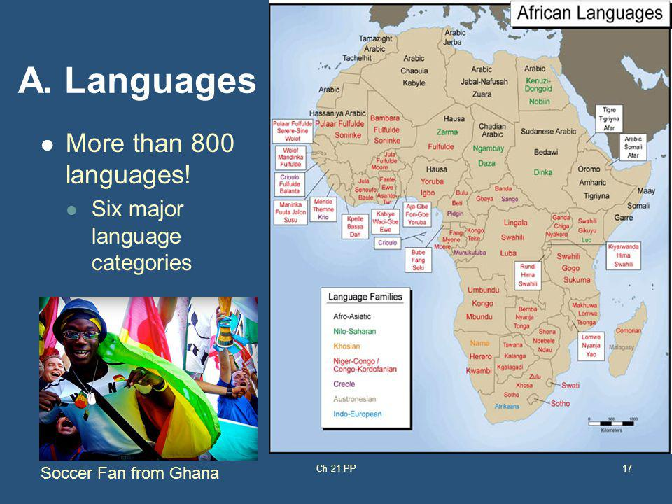 A. Languages More than 800 languages! Six major language categories