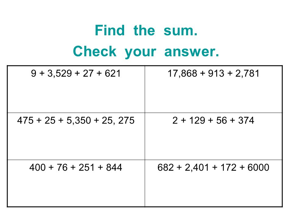 Find the sum. Check your answer.