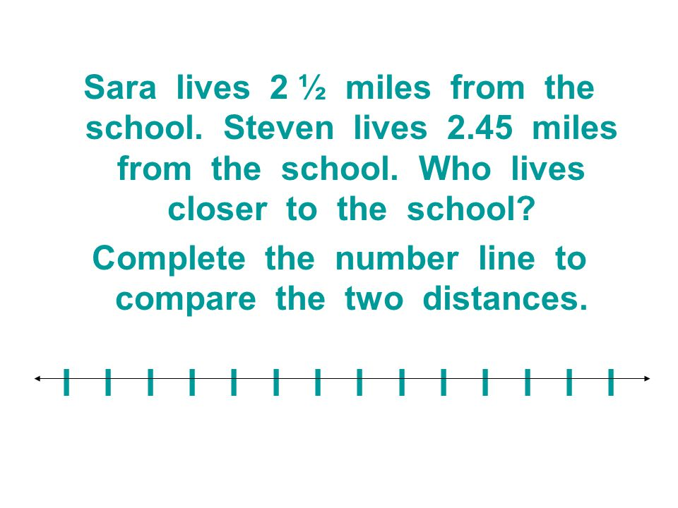 Complete the number line to compare the two distances.