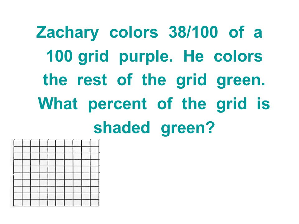 the rest of the grid green. What percent of the grid is