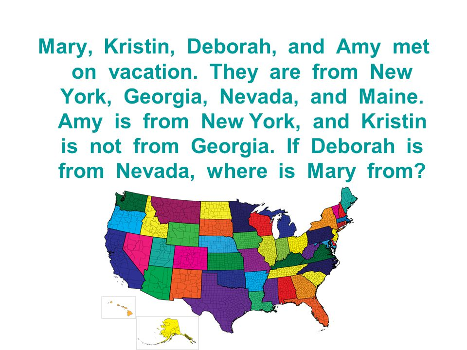 Mary, Kristin, Deborah, and Amy met on vacation