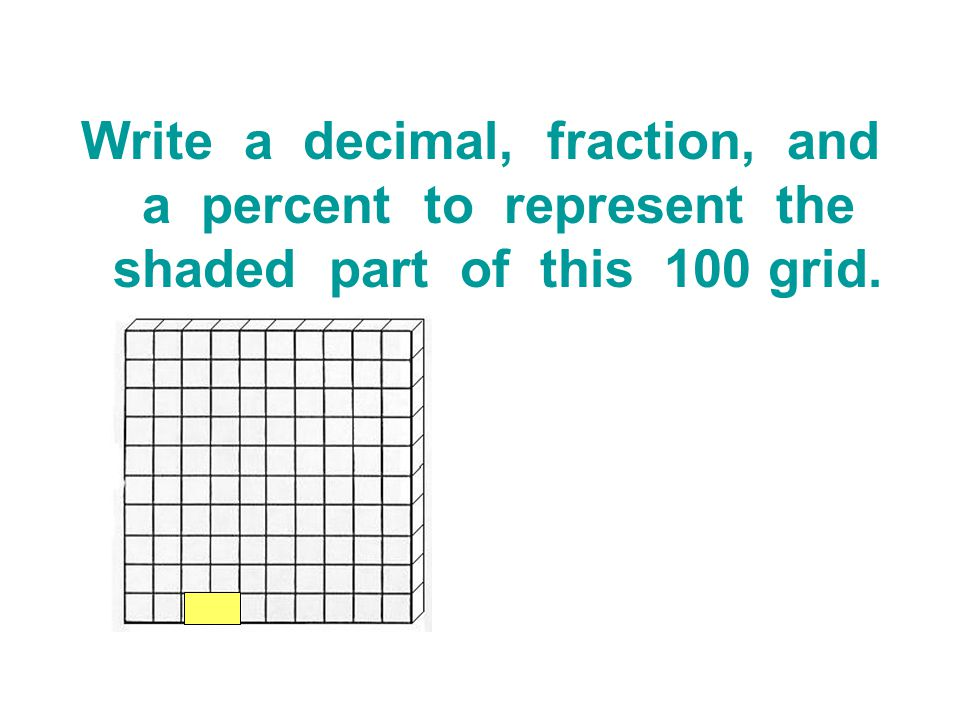 Write a decimal, fraction, and a percent to represent the shaded part of this 100 grid.