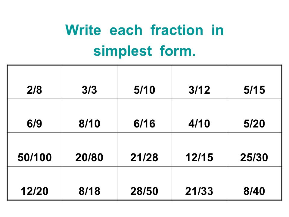 write every different percentage during simplest form