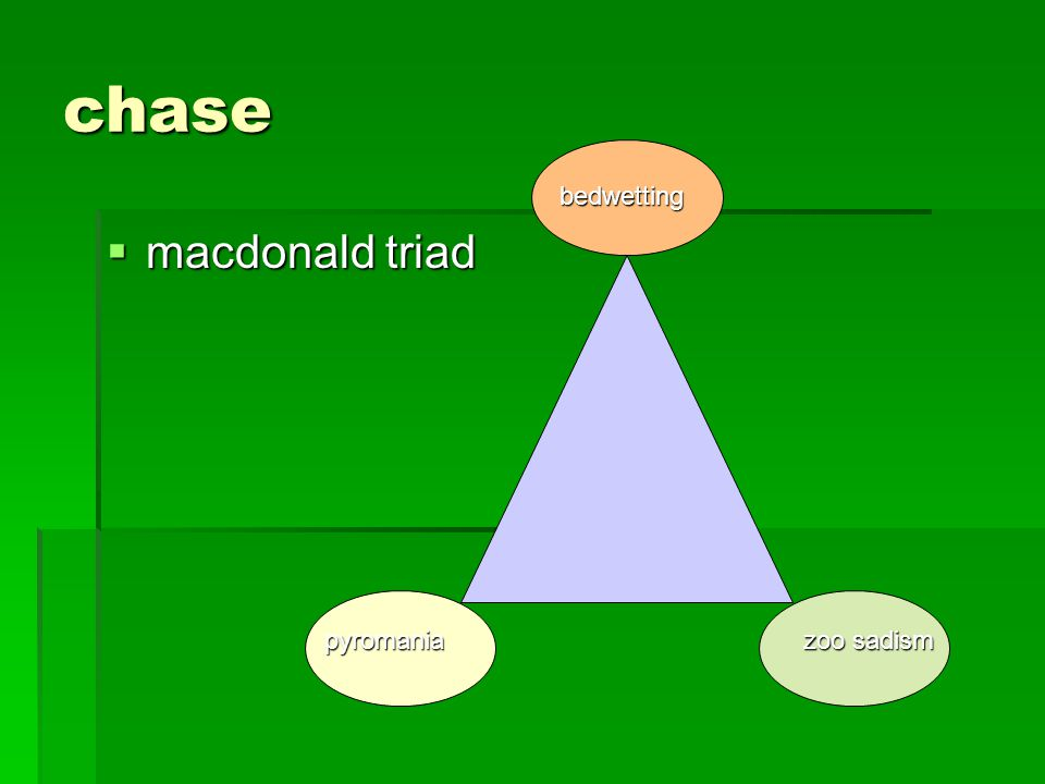 chase bedwetting macdonald triad pyromania zoo sadism