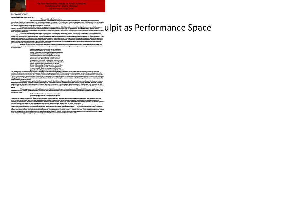 The Pulpit as Performance Space