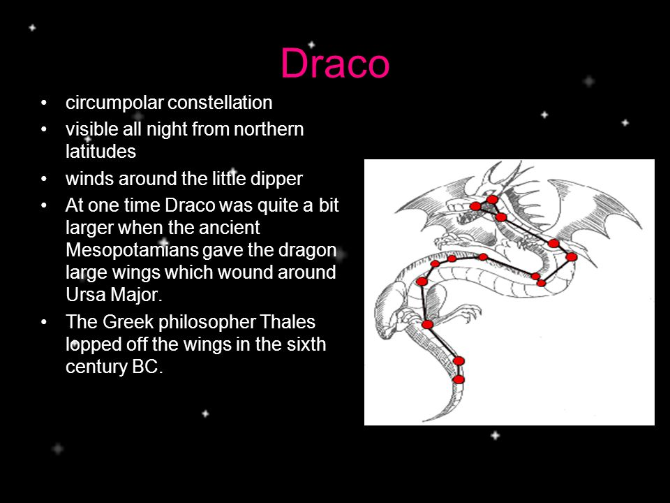 Draco circumpolar constellation