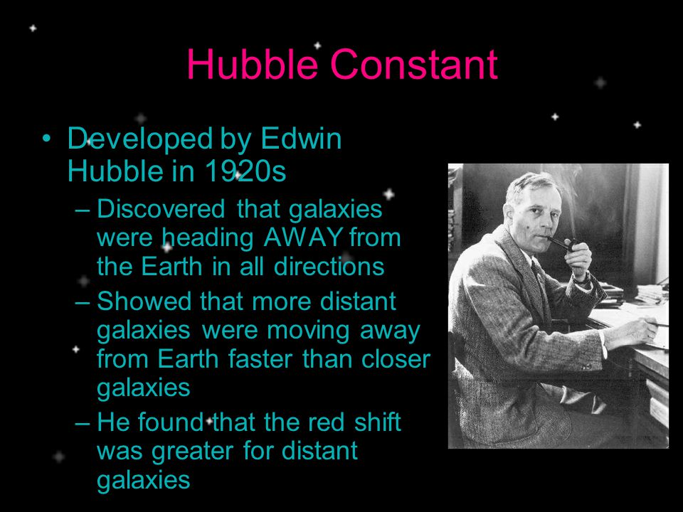 Hubble Constant Developed by Edwin Hubble in 1920s