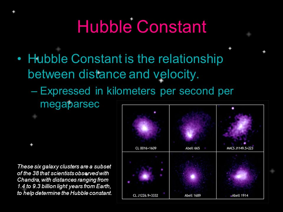 Hubble Constant Hubble Constant is the relationship between distance and velocity. Expressed in kilometers per second per megaparsec.
