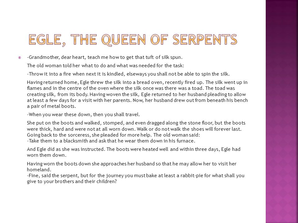EGLE, THE QUEEN OF SERPENTS