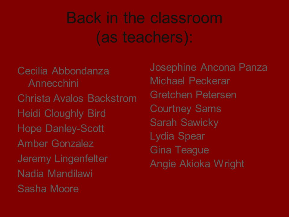 Back in the classroom (as teachers):