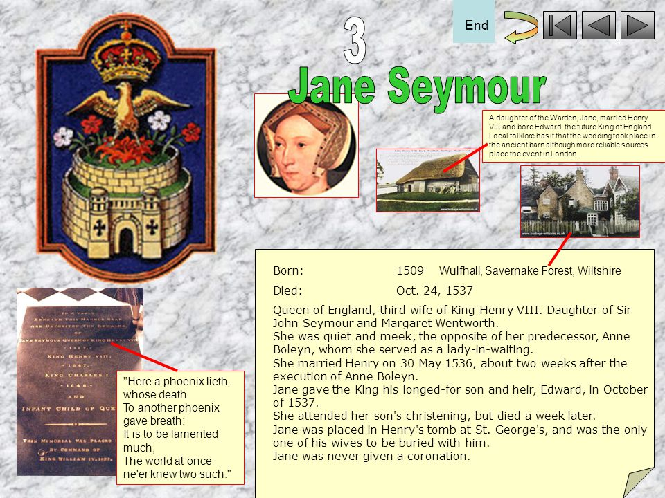3 Jane Seymour End Born: 1509 Died: Oct. 24, 1537