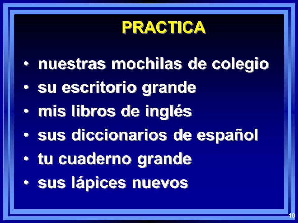 PRACTICA nuestras mochilas de colegio. su escritorio grande. mis libros de inglés. sus diccionarios de español.