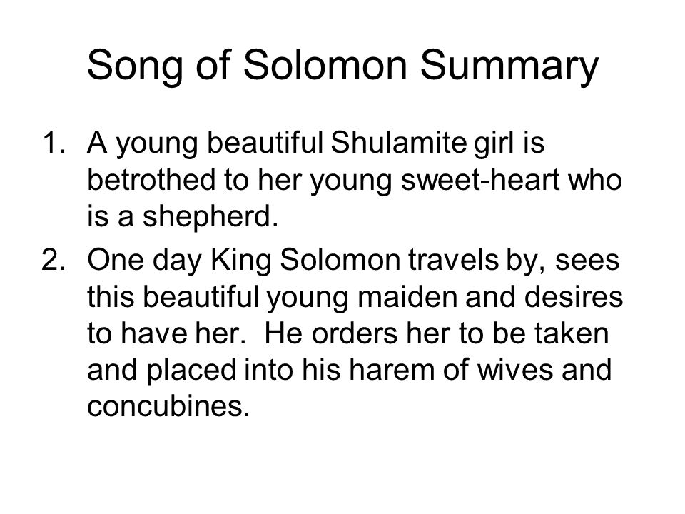 Song of Solomon Summary