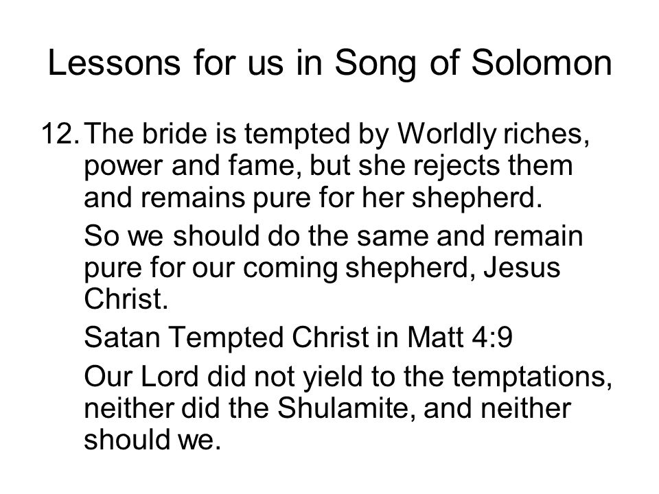 Lessons for us in Song of Solomon