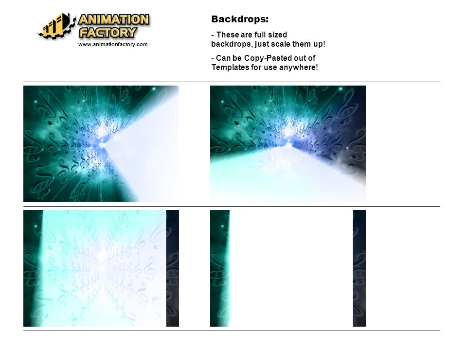 Backdrops: - These are full sized backdrops, just scale them up!