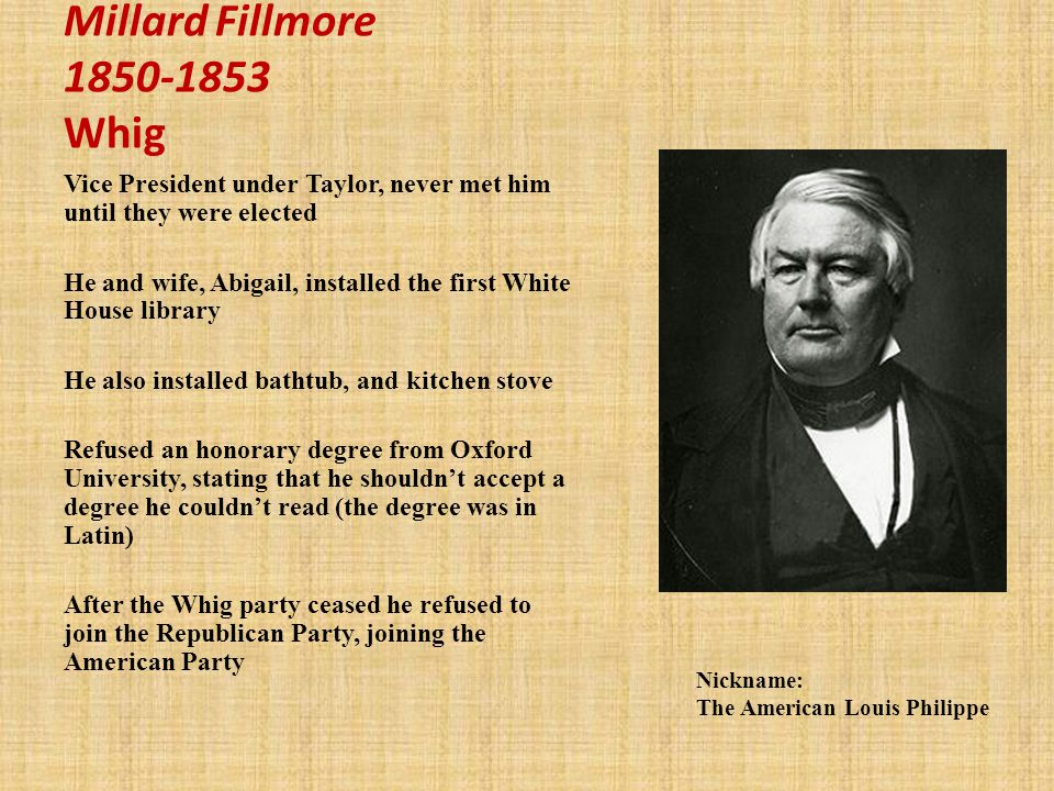 Millard Fillmore 1850-1853 Whig