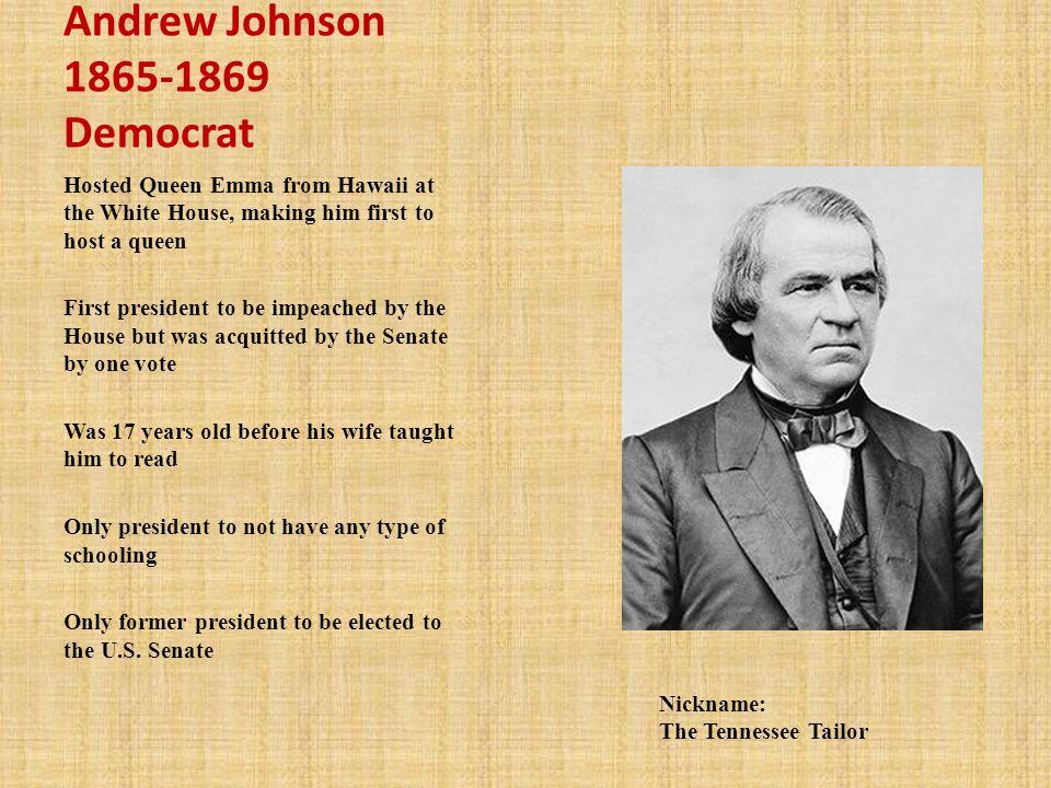 Andrew Johnson 1865-1869 Democrat