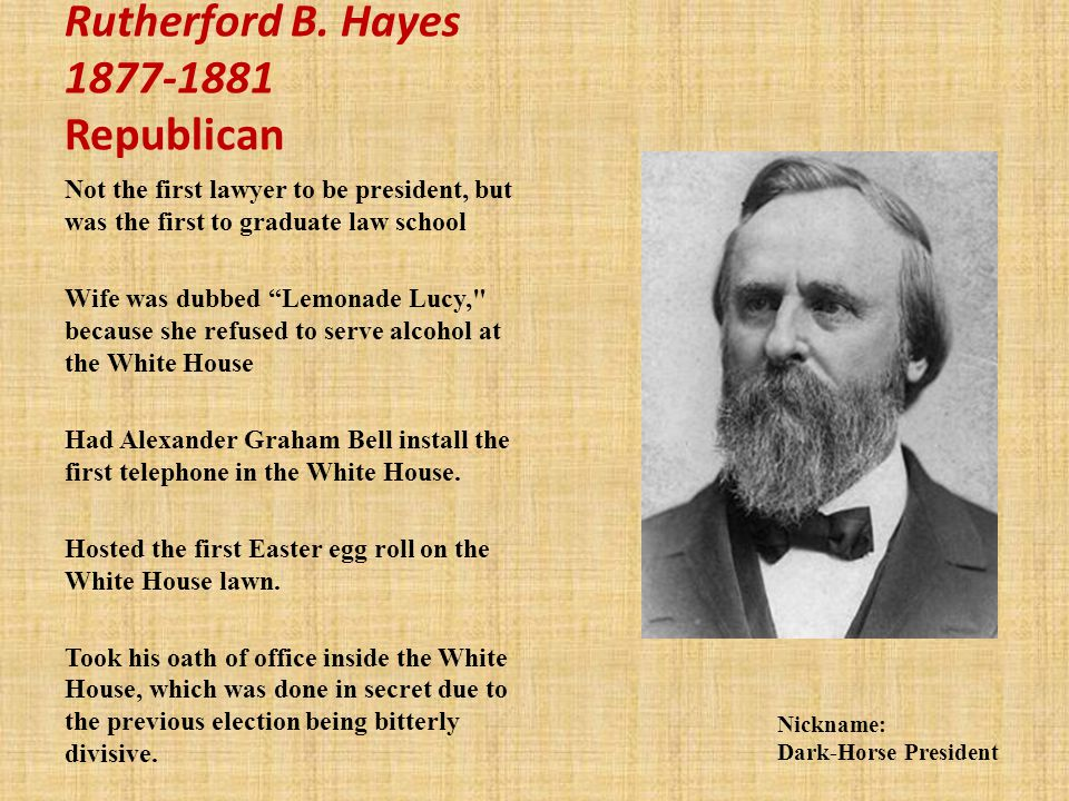 Rutherford B. Hayes 1877-1881 Republican