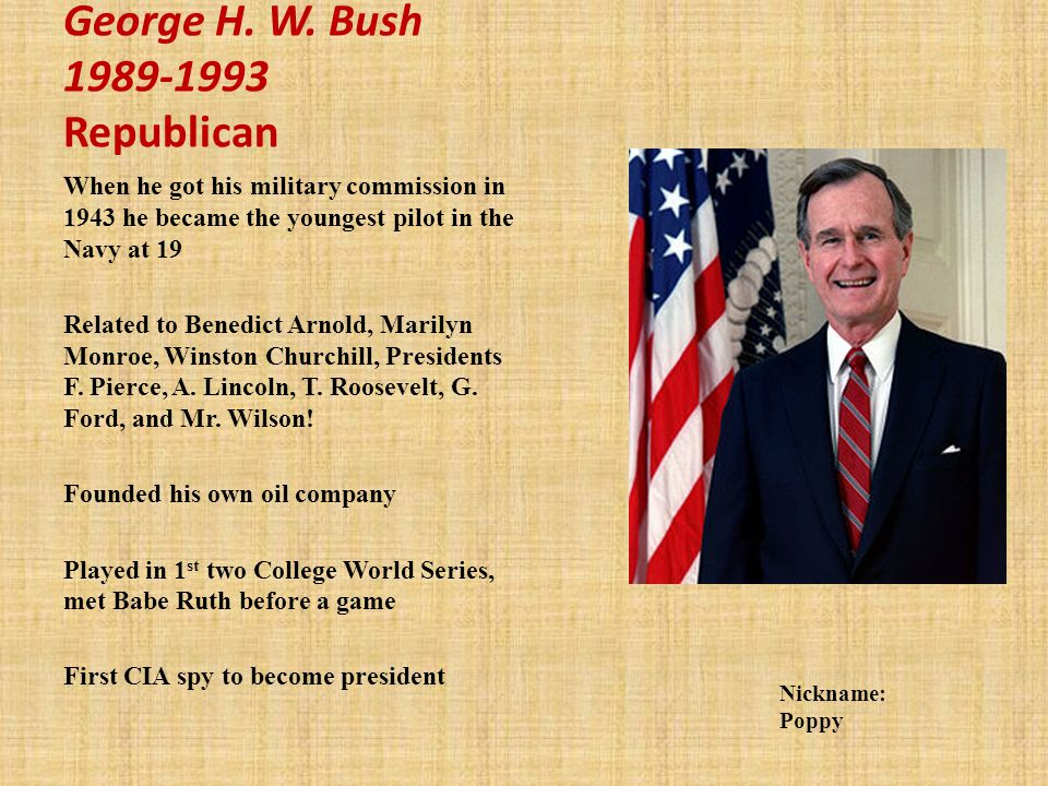 George H. W. Bush 1989-1993 Republican
