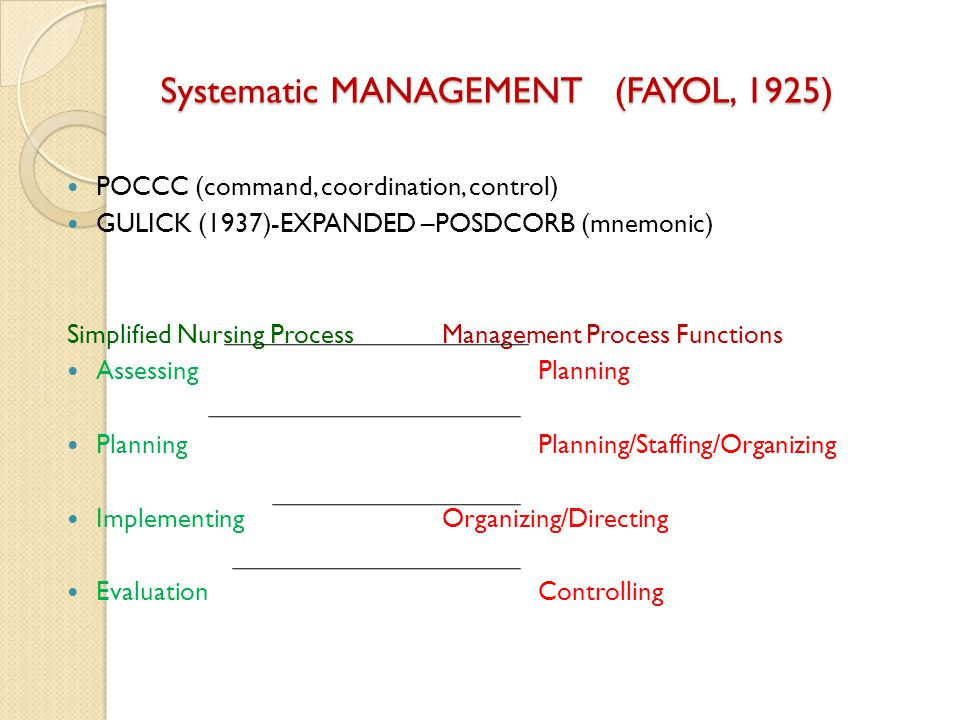 Systematic MANAGEMENT (FAYOL, 1925)