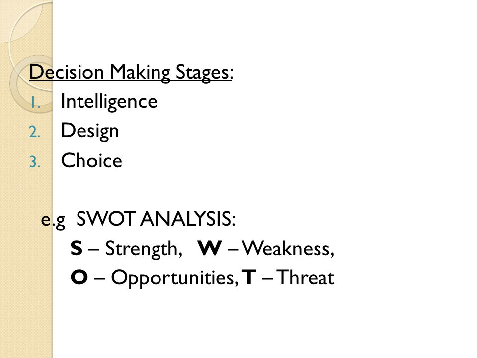 Decision Making Stages:
