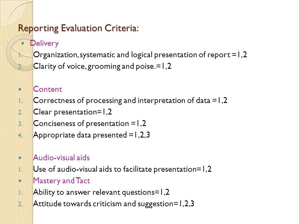 Reporting Evaluation Criteria: