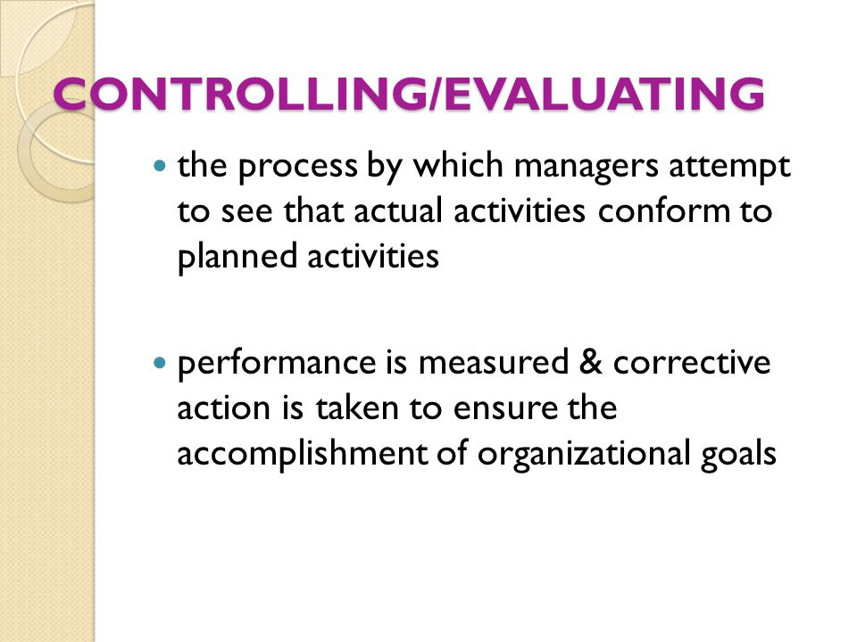CONTROLLING/EVALUATING