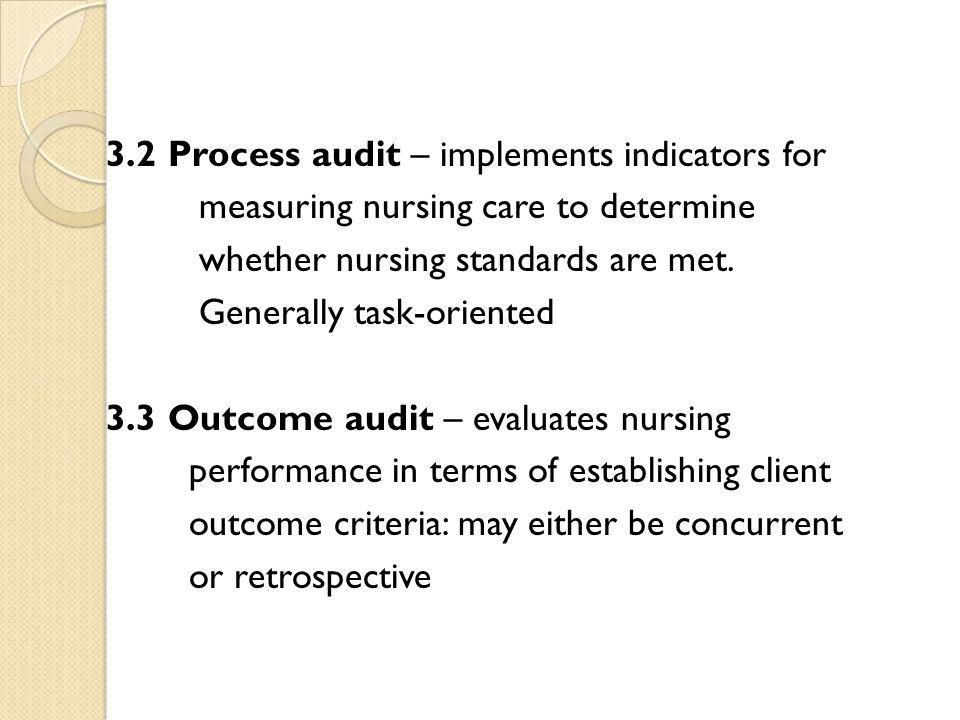 3.2 Process audit – implements indicators for measuring nursing care to determine whether nursing standards are met.