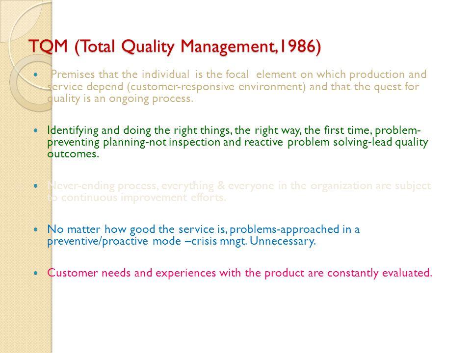 TQM (Total Quality Management,1986)