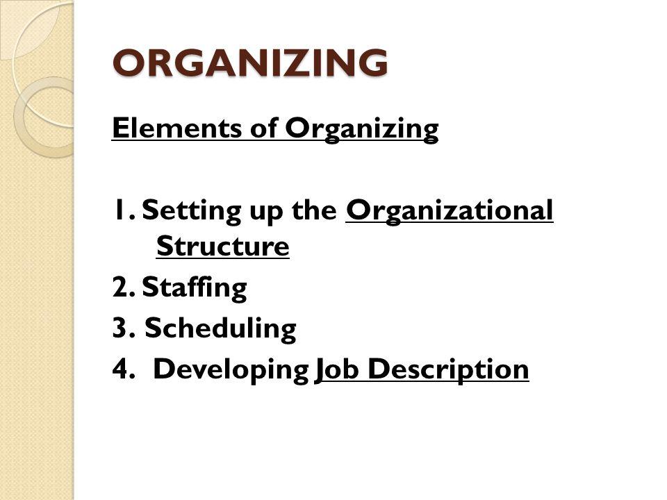 ORGANIZING Elements of Organizing 1. Setting up the Organizational Structure 2.
