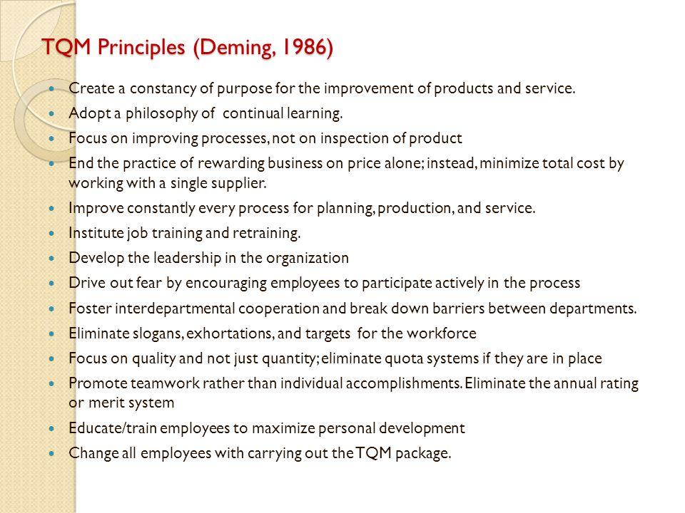 TQM Principles (Deming, 1986)