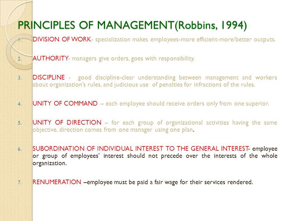 PRINCIPLES OF MANAGEMENT(Robbins, 1994)