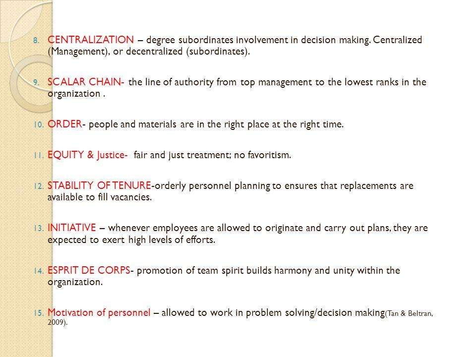 CENTRALIZATION – degree subordinates involvement in decision making